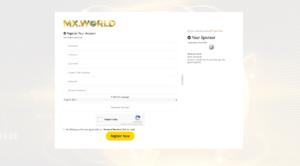 Registrační stránka MX World
