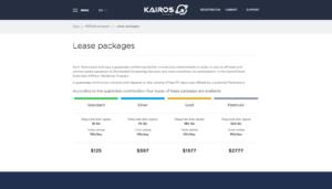 Srovnání balíčků z nabídky Kairos Technologies