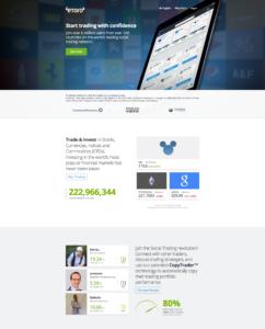 Internetová stránka eToro