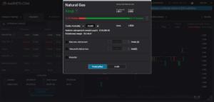 Okno pro zadání transakce na demo účtu Markets