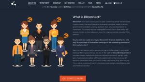 Webová stránka služby BitConnect